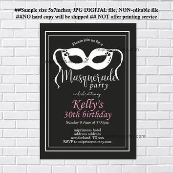 MASQUERADE Party Invitation, chalkboard mask, Invitation for any age 10 18 20 30 40 50 60 gathering Party invitation Card Design - card 174