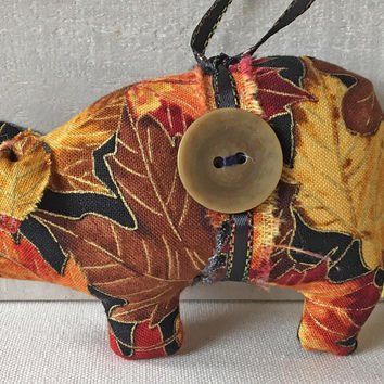 Autumn Leaves Fabric Pig Ornament