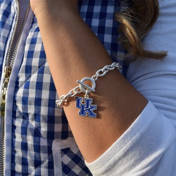go big blue bracelet, university of kentucky logo charm