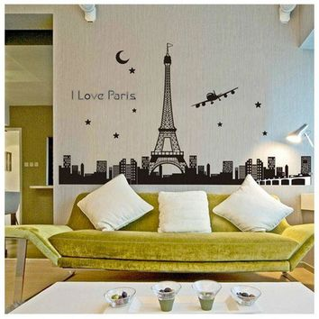 VOND4H Eiffel Tower Night Removable Luminous Wall Sticker Vinyl Decal Decoration glow in the dark