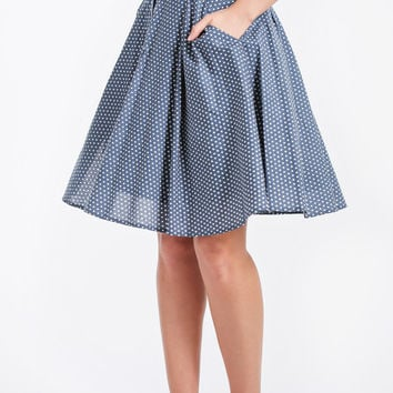 Gabbi High Waisted Blue Polka Dot Midi Skirt
