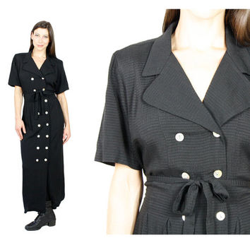 Black Shirt Dress.   Tie Waist Babydoll Maxi Dress.   80s Goth Button Up Short Sleeve Hipster Dress. Vintage 1980s  Grunge sz L XL Plus.