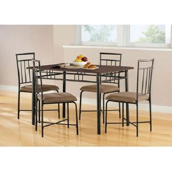 5 Piece Dining Set Wood Metal 4 Chairs Kitchen Table Modern Espresso Furniture