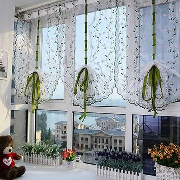 Cute Kitchen High Quality Curtain Window Floral Shade Sheer Voile Door Cafe