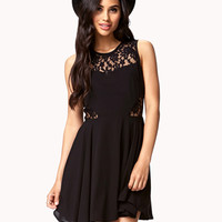 FOREVER 21 Fit & Flare Lace-Trimmed Dress Black Large