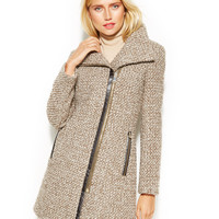 Calvin Klein Asymmetrical Faux-Leather-Trim Wool-Blend Coat