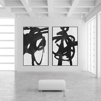 original acrylic painting extra large Abstract painting on canvas 2 pieces black and white wall art , art for large wall home decor