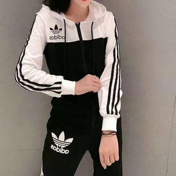 """""""Adidas""""Woman's Leisure Fashion Letter Personality Printing Spell Color Zipper Long Sleeve Elastic Band Trousers Two-Piece Set Casual Wear Sportswear"""