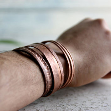 Copper Bracelet, reclaimed metal bracelet, bangle jewelry, cuff armlet, anklet, unisex men and women gift wedding christmas gift