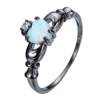 Elegant Heart Cut Rainbow Opal Claddagh Ring Fashion White CZ Wedding Jewelry Black Gold Filled Engagement Promise Rings -0411