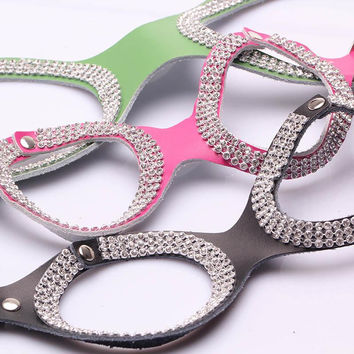 Pet Products For Dogs New Design Genuine Cow Leather Fashion Bling Rhinestone Dog Harness Collar For Small Dogs Chihuahua