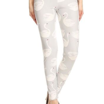 Sweet Swan Print Leggings