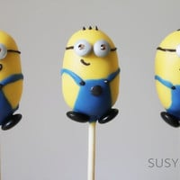 Minion inspired cake pops