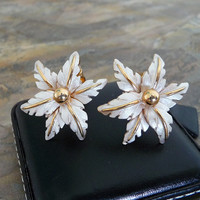 Vintage Gold & Silver Tone Clip on Earrings, Floral Clip On Earrings, Gold Clip On Earrings, Womens Accessories, E038