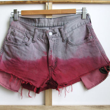 Grey High Waist Dip Dye Vintage Levis Shorts, Vintage Cutoffs, Reworked Shorts, Jean Shorts, Jorts, Daisy Dukes, Hotpants, High Waist Denim