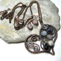 Drófi's heart chakra pendant in pastel / medium / gift earrings / with chain / healing gemstones / Handmade Wire wrapped jewelry