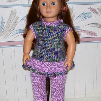 18 inch Doll Clothes, Crochet,  Handmade, Hat, Pants, Top, Girl Doll Clothes, Doll Clothing, American, Doll Dress, Doll Outfit, Purple