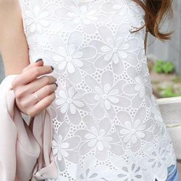 A| Chicloth Solid Casual Polyester Round Neckline Sleeveless Blouses