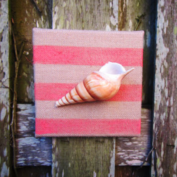 Hand Painted Burlap Canvas and Sea Shell Art / Custom Shabby Chic Beach Cottage Home Decor / Pick Your Color / Beach House Wall Art