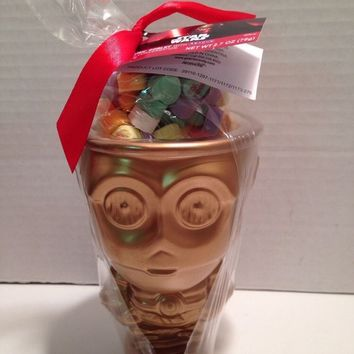 Star Wars C3PO Goblet Ceramic Metallic Gold Valentine Gift Set With Candy Hearts