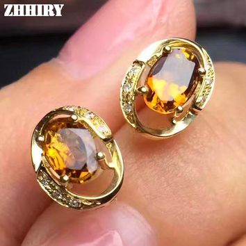 Earrings Natural Yellow Citrine Genuine Gemstone Solid 925 Sterling Silver Real Earrings Women Fine Jewelry ZHHIRY