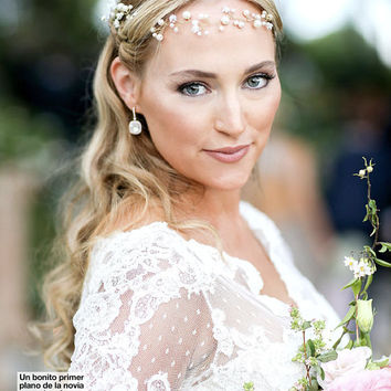 Bridal Headband Bridal Headband Wedding Halo Royal Family Monaco Wedding Swarovski Pearl Headpiece Roisin Galvin Wedding with Gareth W.