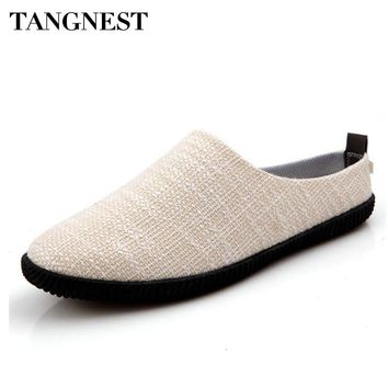 Tangnest NEW Hemp Men Casual Shoes Summer Style Slip-on Canvas Flats Men Non-Slip Slippers Breathable Loafers Man Shoes