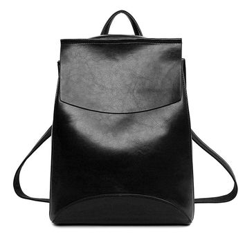 Fashion  Leather Women Bucket Backpacks Casual