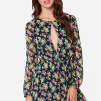 Lucca Couture Smell the Roses Navy Blue Floral Print Dress