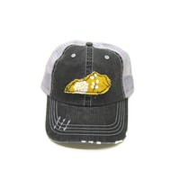 Kentucky Trucker Hat - Distressed - Floral Fabric State Cutout
