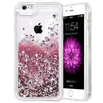 "iPhone 6/6S/7/8 Case, Caka iPhone 6S Glitter Case [With Tempered Glass Screen Protector] Bling Flowing Floating Luxury Glitter Sparkle TPU Bumper Liquid Case for iPhone 6/6S/7/8 (4.7"") - (Rose Gold)"