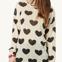 Heart Knit High Low Top