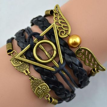 Vintage Harry Potter Deathly Hallows Multilayer Braided rope, platted Leather bracelet, Snitch Angel Wings, Owl,hot sale  A6c