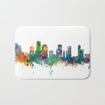 Houston Skyline Bath Mat by monnprint