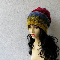 Hand Knit Hat - Colorful Women Hat - Hipster Hat - Chunky Knit Hat - Urban Hats - Boho Hat - OOAK