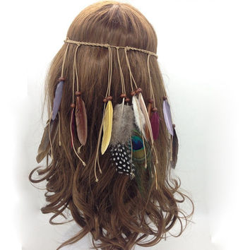 Fashion Beautiful Boho Style Feather Headband Headdress Tribal Hair Feather Rope Headpieces Hippie Party