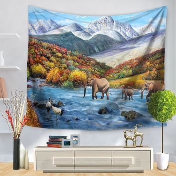 CAMMITEVER Forest Elephant Deer Bear Animal Tapestry 2017 New Indian Mandala Tapestry Hippie Home Decorative Wall Hanging Decor