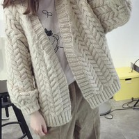 New Beige Patchwork V-neck Casual Cardigan Sweater