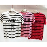 DIOR Classic Popular Women Casual Stripe Knit Short Sleeve T-Shirt Top Tee