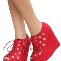Red Cutout Faux Suede Lace_up Open Toe Platform Wedge Heels Resist:Amazon:Shoes