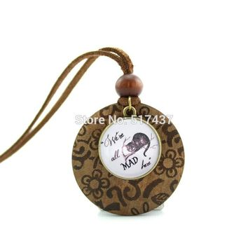 HZShinling New Design Wood Necklace We're all Mad here Cheshire Cat Jewelry Alice in Wonderland Pendant Glass Cabochon Necklace