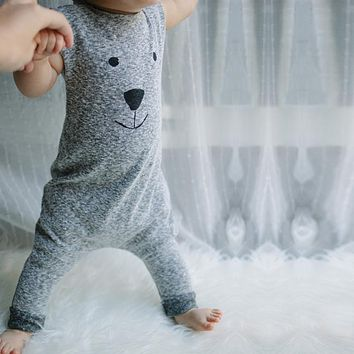New Girl Boy Bear Cotton Jumpers Jumpsuit Baby boys girls rompers children