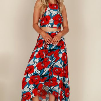 Lotus Love Maxi Skirt Blue/Red