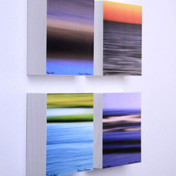 Abstract Water Photography, Seascapes, Nautical Decor, Square Wall Art, 5X5 Wood Panels, Ready to Hang, Shelf Art, Bright Colors
