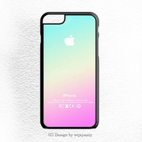 NEW PINK AQUA APPLE LOGO GRADIENT OMBRE SILICONE iPhone 6 Plus Case Wijayanty.com