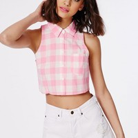Missguided - Pink Gingham Check Cropped Blouse