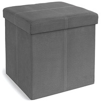 The FHE Group Foldable Storage Ottoman, 15 by 15 by 15-Inch, Grey Suede