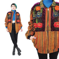 Vintage Guatemalan Bomber Jacket Hippie Boho Crushed Velvet Rose Floral Embroidered Jacket Slouchy Zip Up Jacket Cotton Ethnic Striped (S/M)