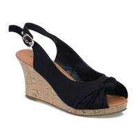 Black Peep Toe Slingback Cork Wedges