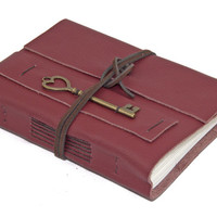 Burgundy Leather Wrap Journal with Heart Key Bookmark - Ready to ship